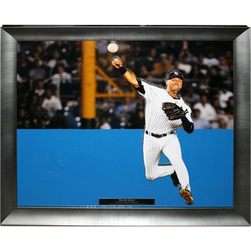 Derek Jeter Throwing Framed 16x20 Photo with Yankee Stadium Outfield Wall Panel