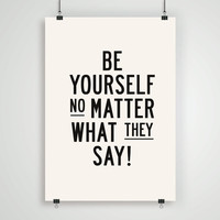 """Motivational Quote Typographic Print """"Be Yourself"""" Inspirational Quote Wall Decor Art Style Typography Poster PRINTABLE DOWNLOAD"""