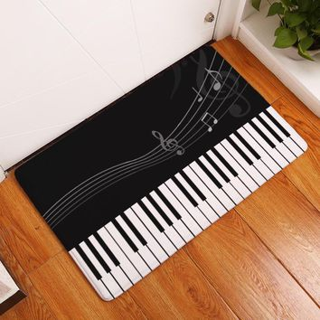 Enipate Piano Mat Music Notes Pattern Welcome Home Door Floor Mats Waterproof Colored Guitar Beating Rugs Kitchen Home Decor