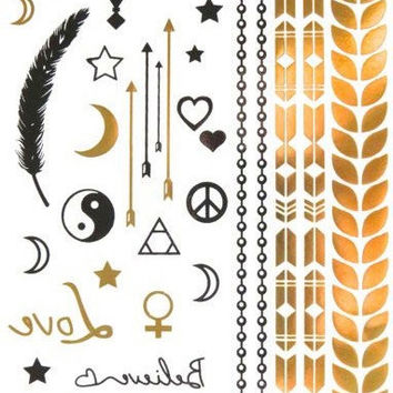 Magic Night Metallic Temporary Tattoo Gold Silver Festival Beach Holiday Feather Stars Gift Present Flash Tattoo Birthday Anniversary