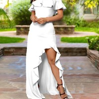 New White Ruffle Off Shoulder Irregular High-Low Bodycon Elegant Prom Party Maxi Dress