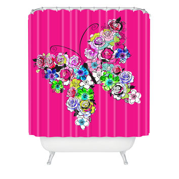 Mary Beth Freet Ink Blossoms Butterfly Shower Curtain