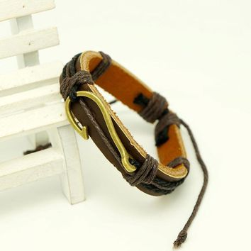 Fishing hook bracelet - leather rope nautical bangle - survival caribbean clasp in gold tone for men