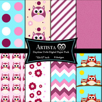Daytime Owls Digital Paper Goods Scrapbook Paper Pack Premade Pages