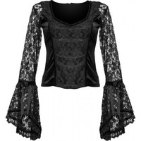Gothic shop: black velvet top, lace sleeves, by Sinister