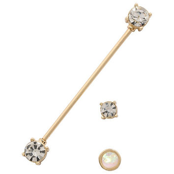 Gold CZ Opal Industrial Barbell 3 Pack