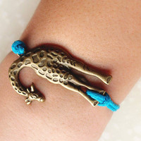 Antiqued Giraffe Bracelet / Blue Wax Cord