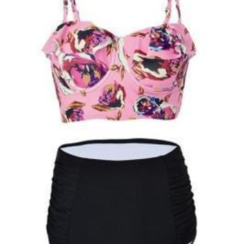 Sultry Two Piece High Waisted Bikini Plus Size Floral Print
