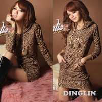 Women's Ladies Fashion Stylish Long Sleeve Leopard Print Hoodies Hooded Party Clubwear Cocktail Mini Shift Dress Size S M L = 1931636612