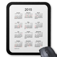 2015 Holiday Calendar Mouse Pad