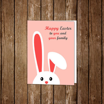 Easter card printable, Happy Easter, Easter greeting card , Bunny print, Bunny printable, Bunny digital, Funny Easter card, Instant download