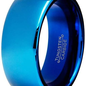 Men's Blue Tungsten Wedding Ring Dome Polished Comfort Fit - 8mm
