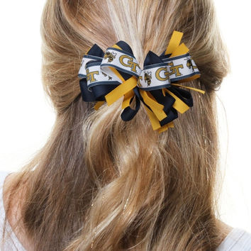 Georgia Tech Yellow Jackets Women's Cheer Loop Hair Bow