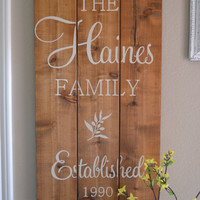 Family Established Wood Sign