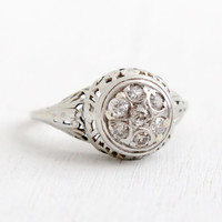 Antique 18k White Gold Art Deco Diamond Cluster Ring - Size 7 Vintage Filigree 1930s Engagement Wedding Fine Jewelry
