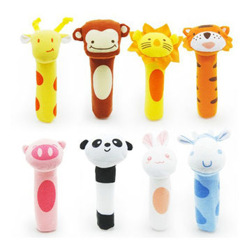 newborn toys Soft Animal Model Handbells plush Rattles Rattle Cute Gift Baby toy 0-12months HT014