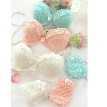 2015 new push up women bra set cute young girl 32 34 36 A B cup sexy lace cotton underwear suit