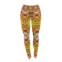 """Mydeas """"Butterfly Dog Damask"""" Yellow Red Yoga Leggings"""