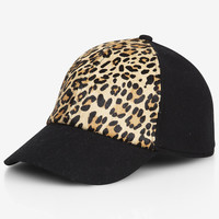 LEOPARD HAIRCALF BASEBALL HAT from EXPRESS