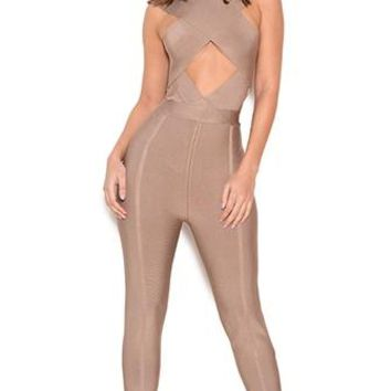 Industry Standard Taupe Sleeveless Crossover Cut Out Halter Skinny Bandage Jumpsuit - Inspired by Kylie Jenner
