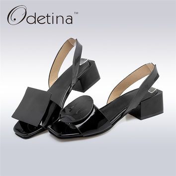 Odetina 2017 Summer Ladies Slingback Sandals Open Toe Fashion Sandal Chunky Heels Black Strap Sandals for Women Mid Heel Pumps