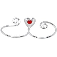 Sterling Silver 925 Light Siam Red CZ Heart Double Toe Ring | Body Candy Body Jewelry
