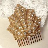 1920s Art Deco Gold  Rhinestone Flapper Fan Bridal Hair Comb, Crystal TRUE Vintage Gold Fur Clip to OOAK Hair Comb Headpiece Great GATSBY