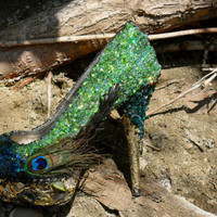 Peacock Feathers Jeweled with Blue Green and by ShoesForQueens