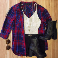 Beth Plaid Top