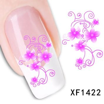 1sheets Beauty Pink Nail Art Vintage Flower Watermark Tattoos Stickers Decals of Nail Decorations for Polish Tips LAXF1422