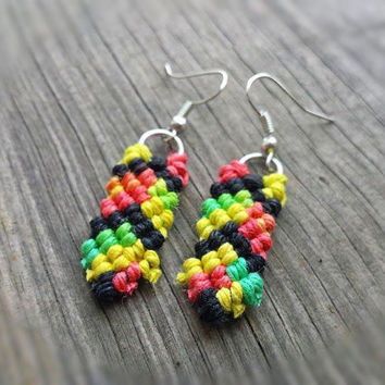 Rasta Earrings, Hemp Jewelry, Macrame Earrings, Hemp Dangle Earrings, Organic, Natural