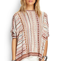FOREVER 21 Relaxed Open-Knit Dolman Sweater Cream/Brick