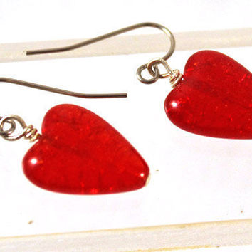 Brilliant Red Heart Earrings - Crackle Glass