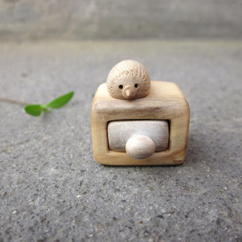 Miniature drawer with little hedgehog , wood carving, unique, Wood sculpture, wood box, reclaimed wood, ECO friendly