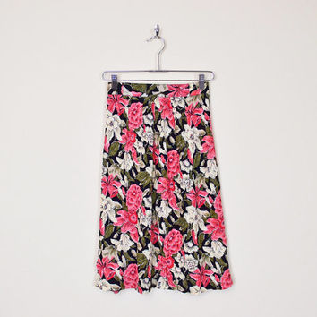 Vintage 80s 90s Black Pink Floral Skirt Spring Floral Print Skirt Floral Midi Skirt High Waist Skirt Rayon Skirt Gauze Skirt Grunge S Small