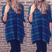 Fashion Checkered Lapel T-Shirt