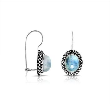 AE-7016-RM Sterling Silver Earring With Rainbow Moonstone