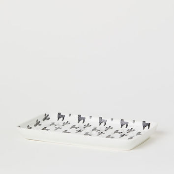 Rectangular Porcelain Plate - White/llamas - Home All | H&M US