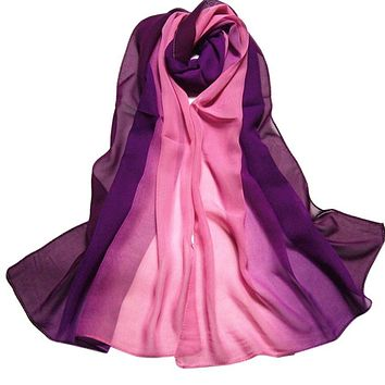 Summer Fashion Chiffon Scarf Gradient Colors Georgette Female Silk Scarves Cape Manta #ED