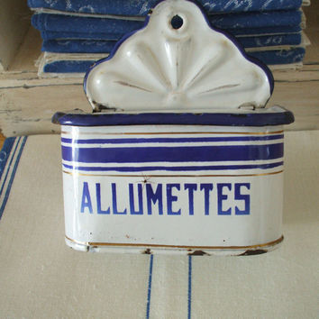 antique French ENAMELWARE granite ware allumettes/matches box FRENCH KITCHEN blue and white enamel