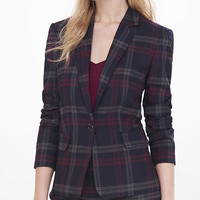 Berry Plaid One Button Jacket from EXPRESS