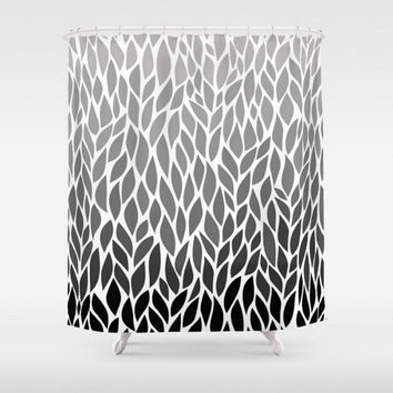 Shower Curtain Grey Black Ombre Leaf Design Gray White Pattern Home Bath Room Unique Decor