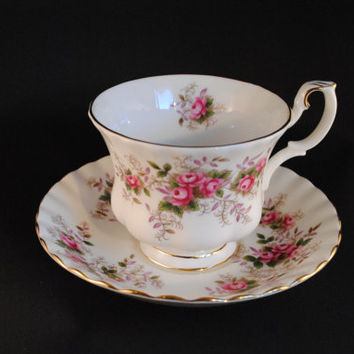 "Teacup and Saucer, Royal Albert ""Lavender Rose"" Pattern"