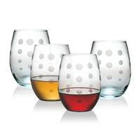 Pearls Stemless Wine Glasses ~ Set of 4
