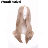 WoodFestival blonde long wavy wig 60 cm heat resistant cosplay synthetic wigs for women hair high temperature fiber real picture
