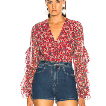 NICHOLAS Blossom Ruffle Blouse in Red | FWRD