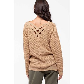 Weave Back Knit Sweater -  Taupe