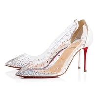 Christian Louboutin Cl Degrastrass Pvc Version Latte Strass 18s Bridal 1180608w080