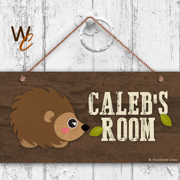 "Hedgehog Sign, Woodland Personalized Sign,Kid's Name, Kids Door Sign, Baby Nursery Wall Decor, Weatherproof, 5"" x 10"" Sign, Made To Order"