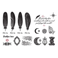 2pcs Feathers Wings Mirror Temporary Tattoo Waterproof Body Tattoo Stickers Body Art